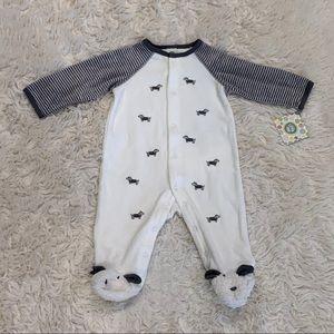 🆕 Little Me Baby Boy Footie Snap Pajamas 6M Dog